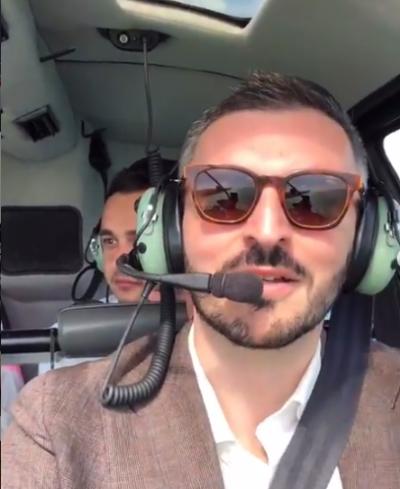 Георгий Чемянов на вертолете